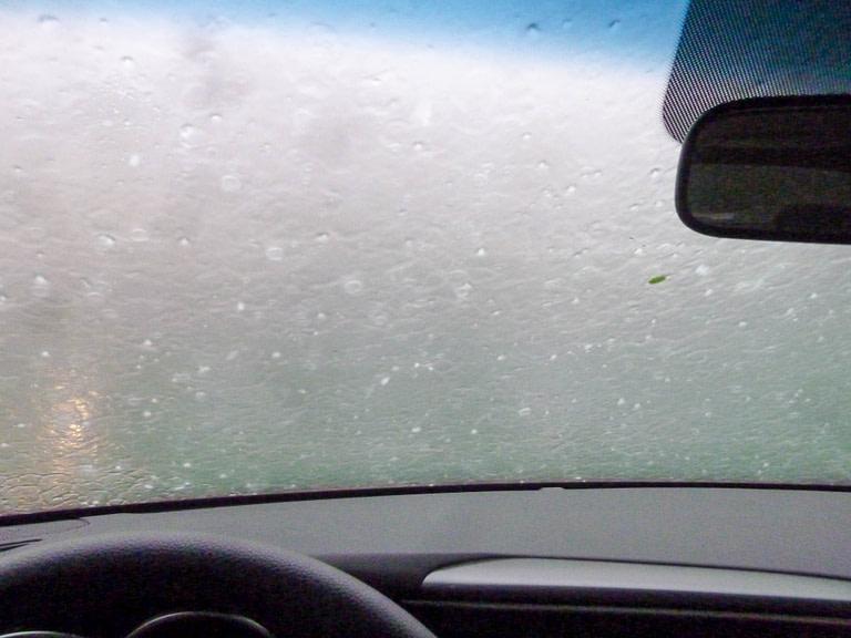 hail on windshield