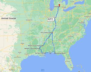 natchez road trip map