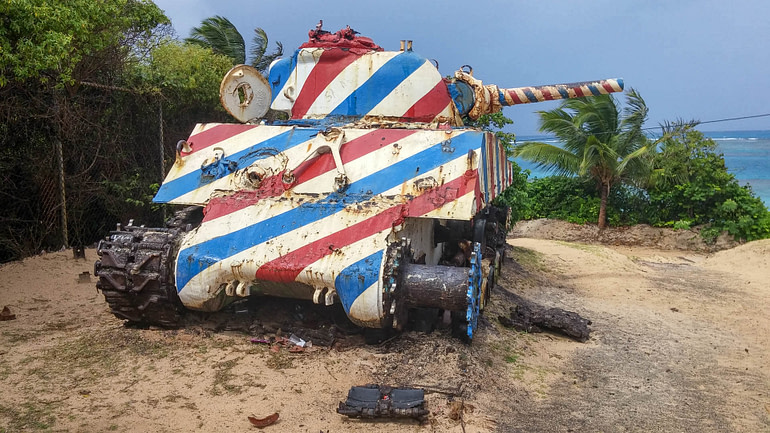 tank in campgroud