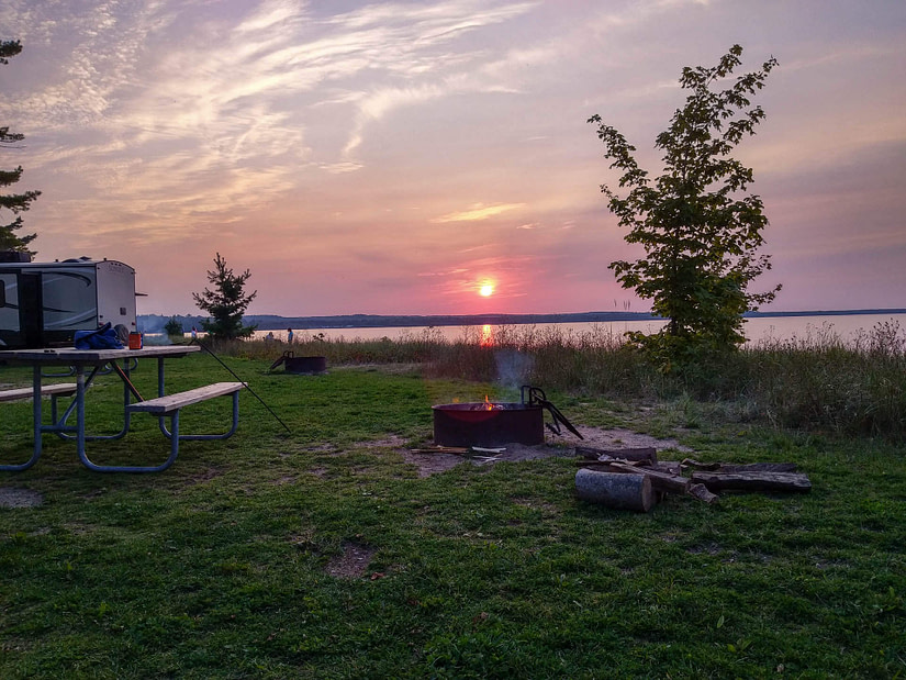 sunset at campground
