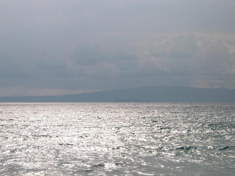 gray sea and island
