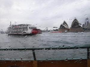 paddleboat in rain