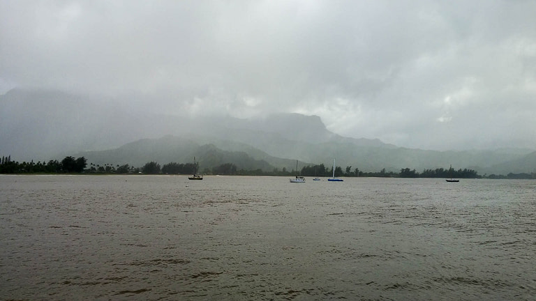 Hanalei Bay in rain and fog