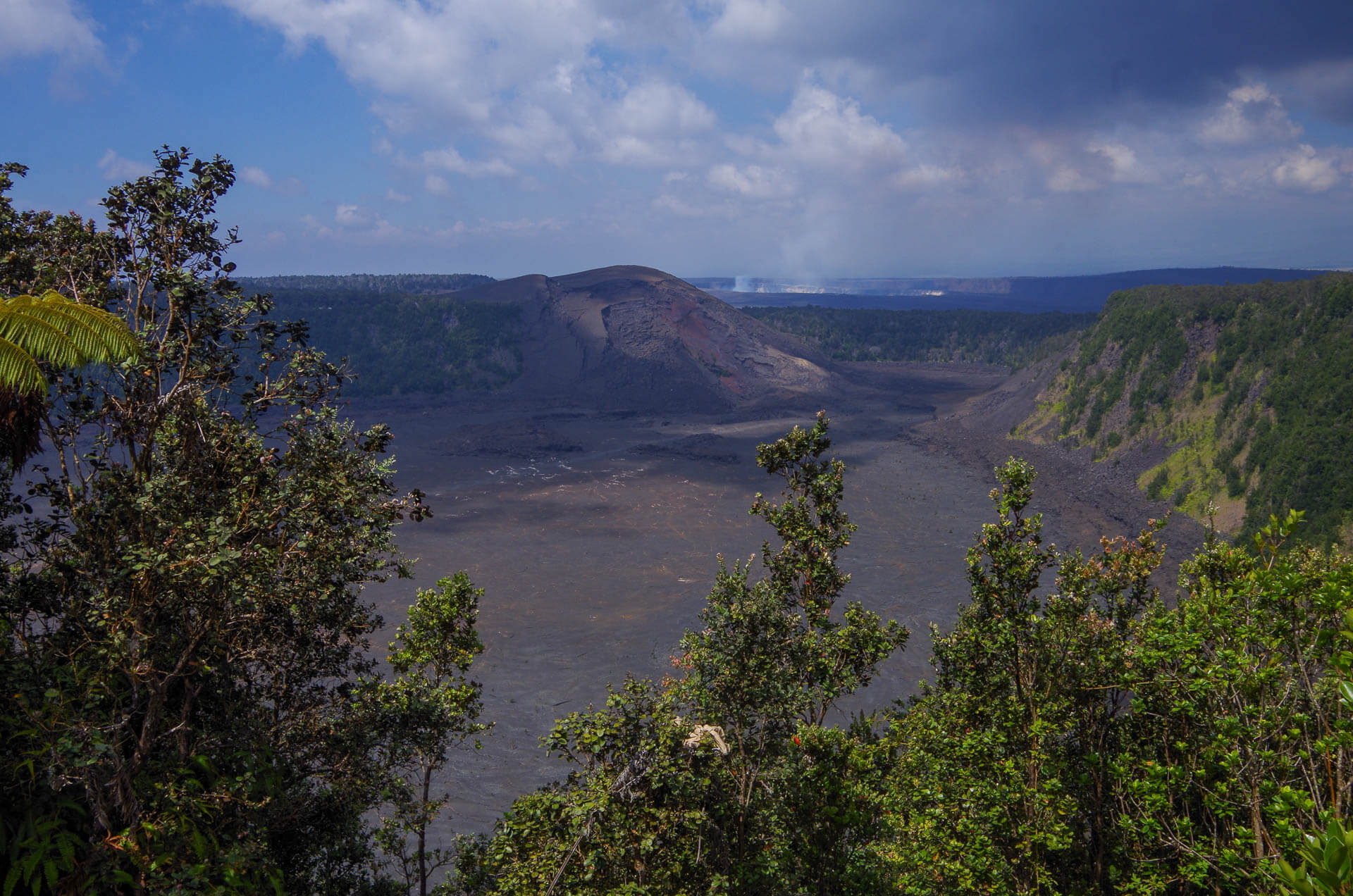 view into the crater from the rim