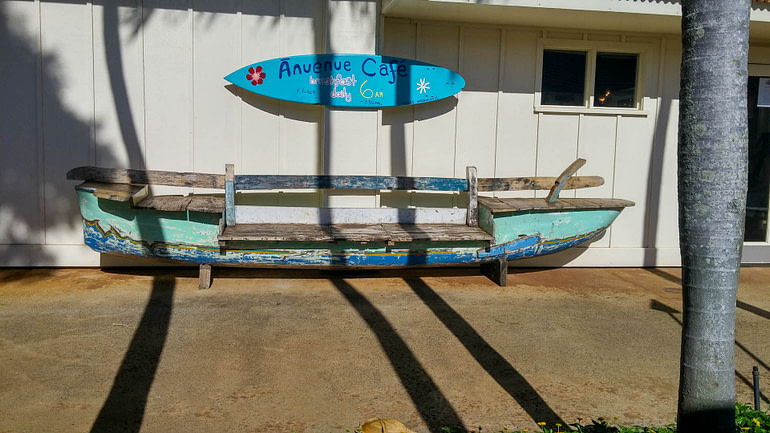 colorful canoe bench