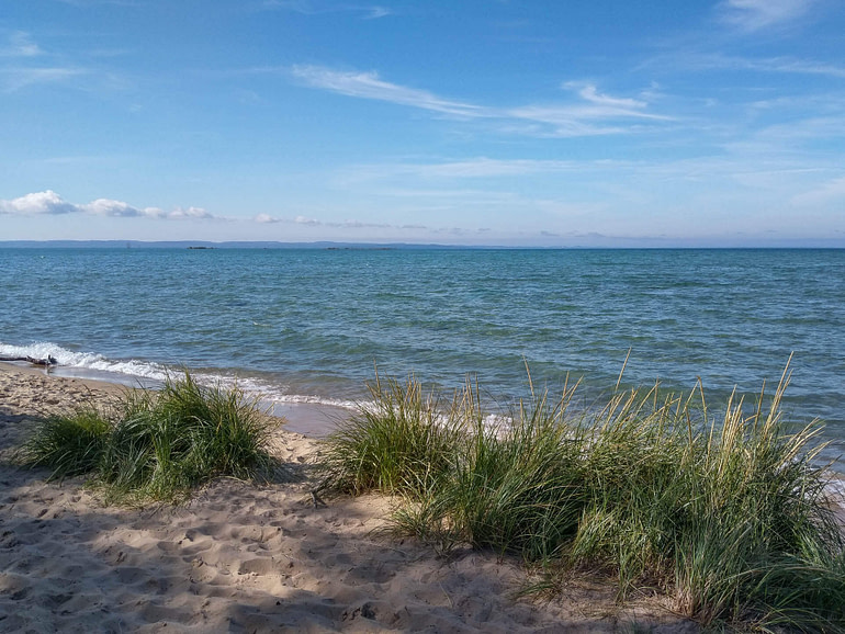 beach on the Mission peninsula