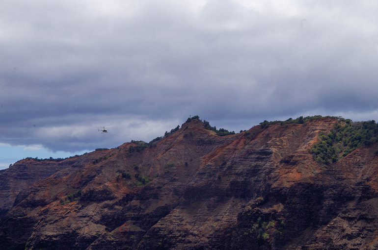 helicopter in canyon