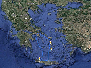 Greece map with route