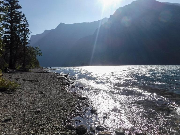 sun on St Mary Lake